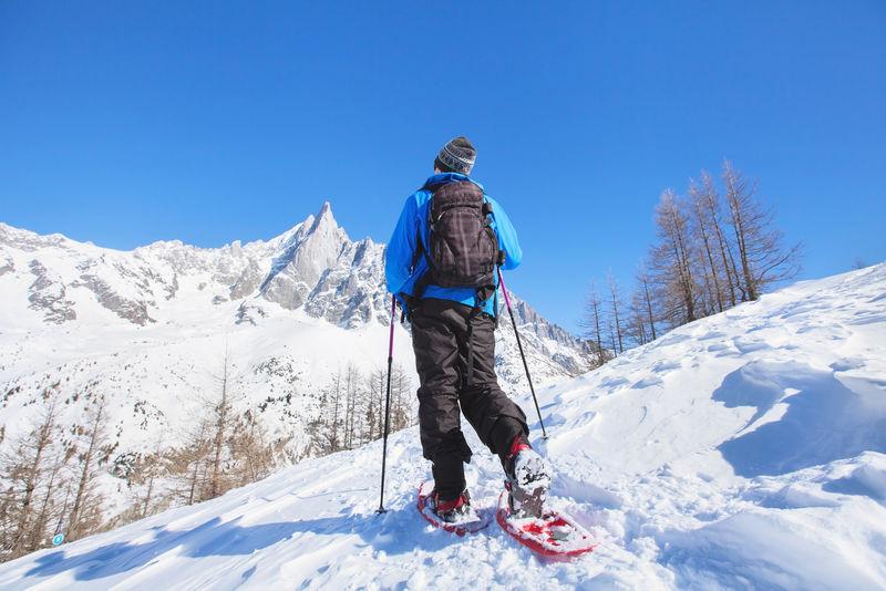 高山雪鞋,冬季阿尔卑斯山徒步旅行者