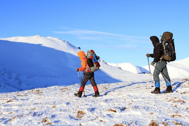 冬季徒步旅行。