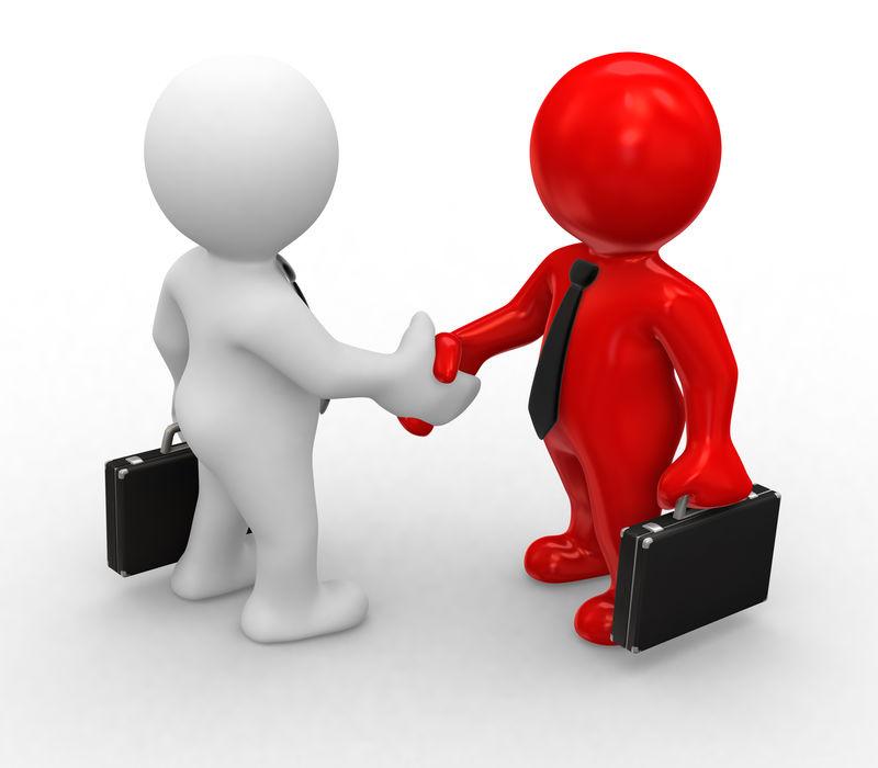 3D商务白红人握手