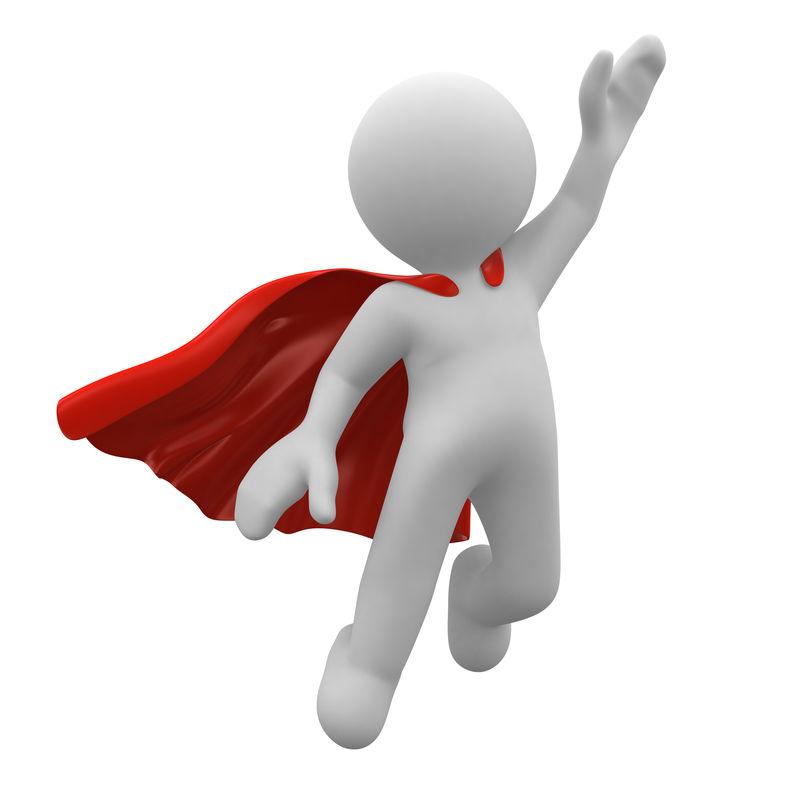 带红色斗篷的3D超级英雄