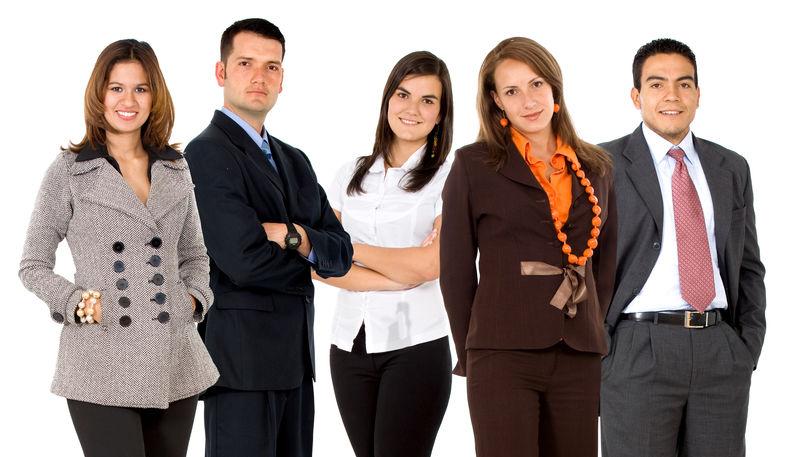 由白人背景下的年轻商人和女商人组成的商业团队