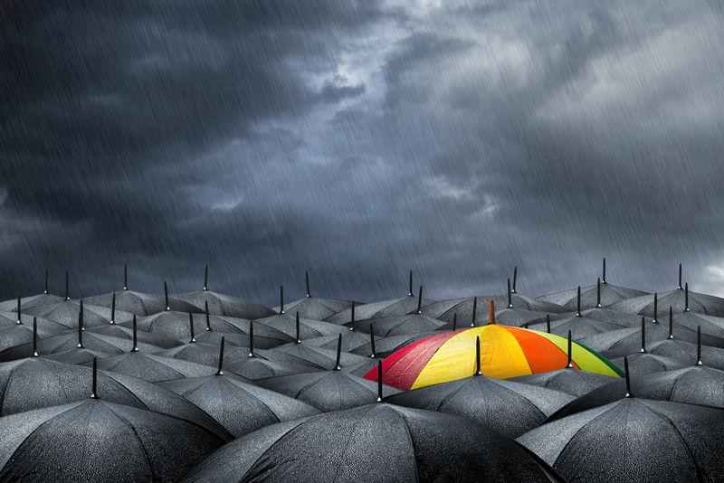 黑色雨伞中的彩虹伞