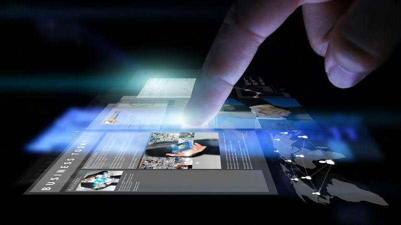 从事虚拟屏幕的商人-商业概念、技术、管理