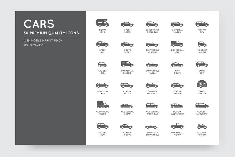 所有类型和名称的矢量汽车图标集