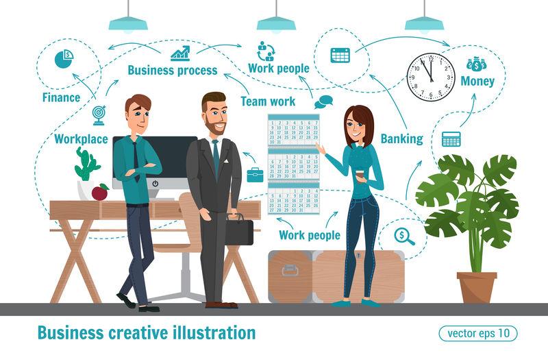 商业创意插图女人和男人商人性格办公室工作人员专业团队合作