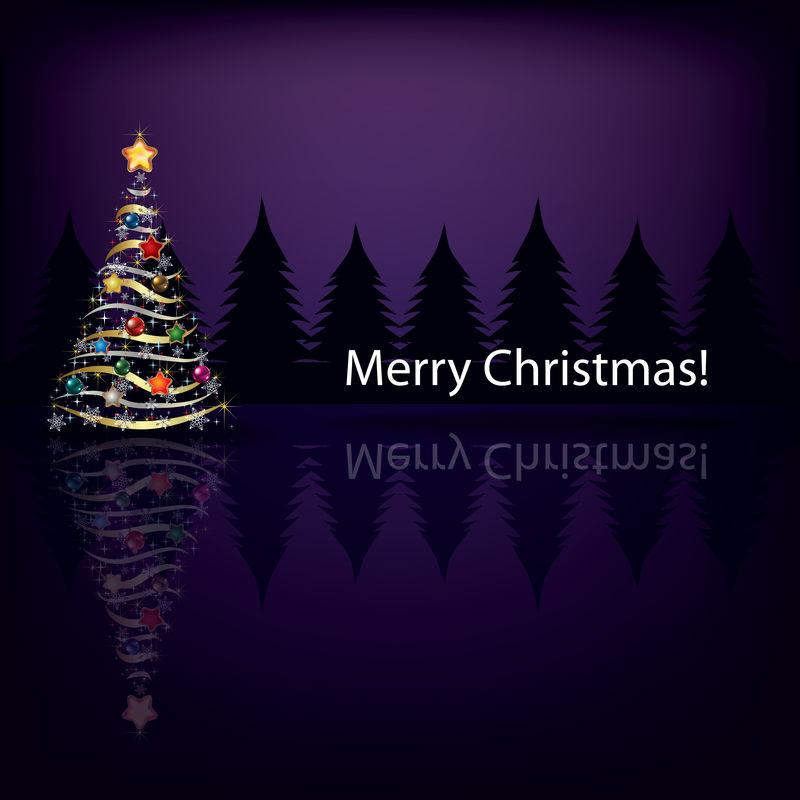 深色背景的圣诞树