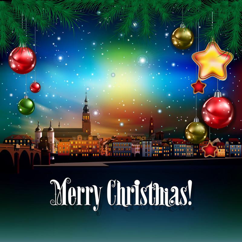 圣诞祝福城市全景