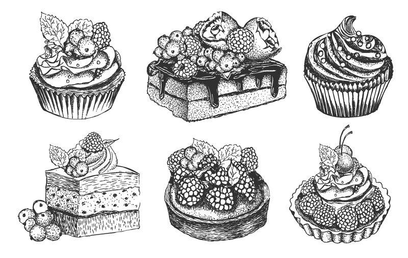黑白甜点系列-纸杯蛋糕-巧克力和香草蛋糕-芝士蛋糕-杏仁饼-素描矢量图孤立的背景-手绘甜品