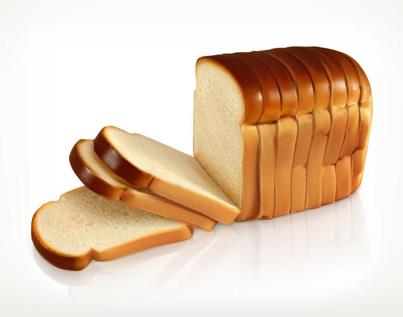 面包面包店图标白色背景下的切片新鲜小麦面包