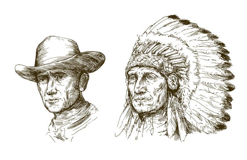 美国印第安首领和牛仔的肖像