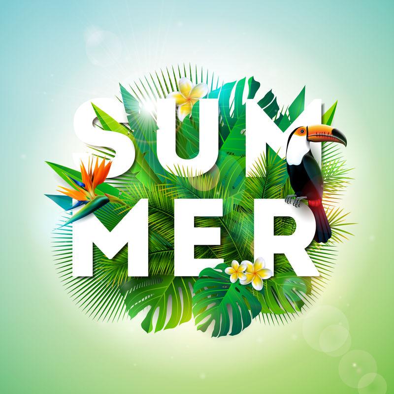 热带背景下的图坎鸟和鹦鹉喙花的夏季插图带有假日印刷元素的异国情调的叶子横幅传单邀请函小册子海报或贺卡的矢量设计模板