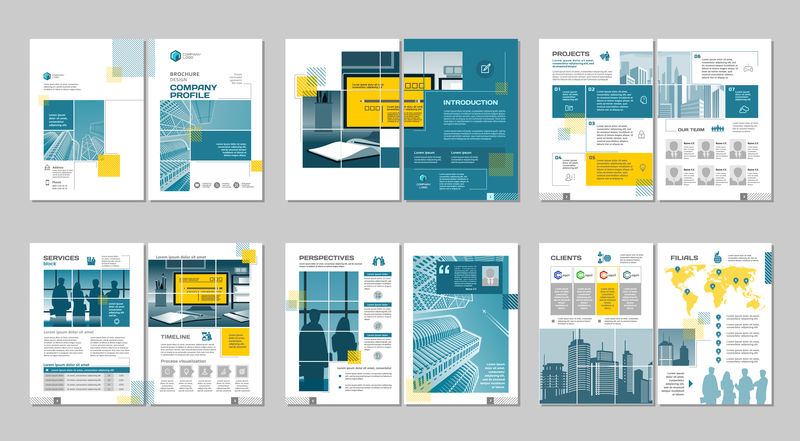 白色小册子模板设计-蓝色和橙色几何形状-封面布局和信息图形