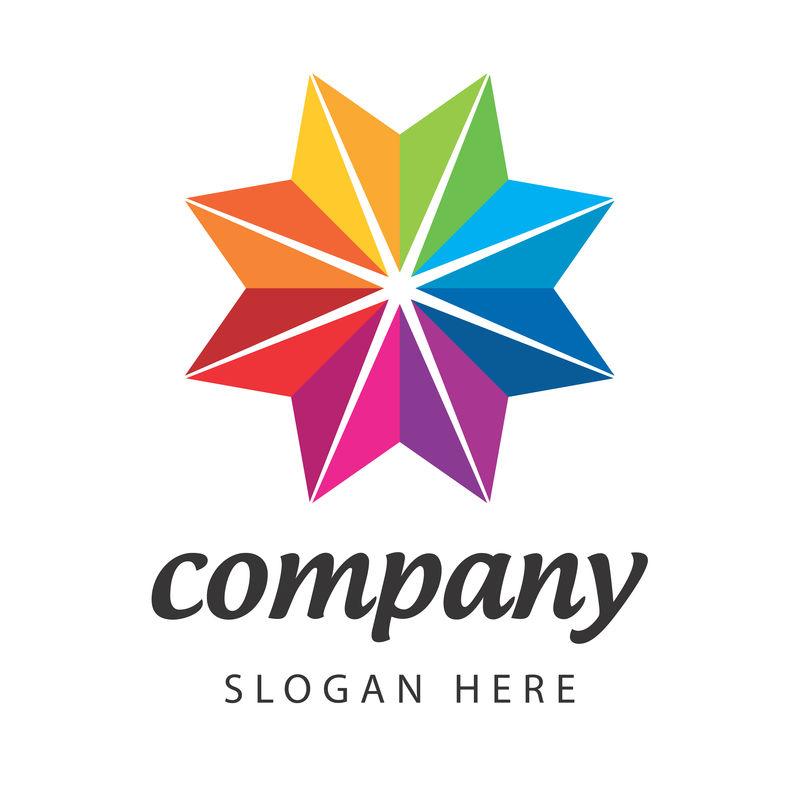 彩色三角六边形钻石星商务公司矢量标志设计
