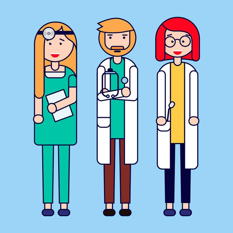 医疗专家组矢量图设计中的医疗团队概念矢量图