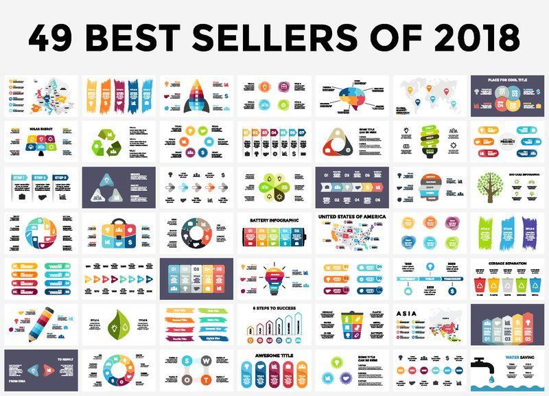 2018年最佳信息图表模板-演示幻灯片集-圆图-时间线-灯泡-智力拼图-笔画横幅-医学教育生态学商业信息图表
