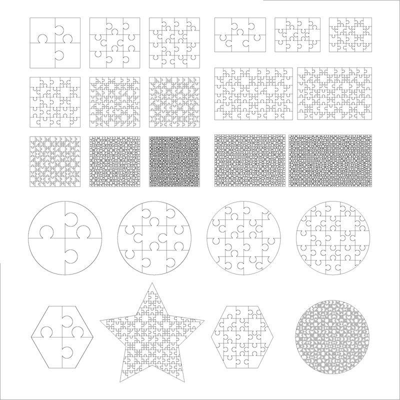 最大的一组不同形状的白色拼图-拼图拼图模板准备打印-白色切割指南