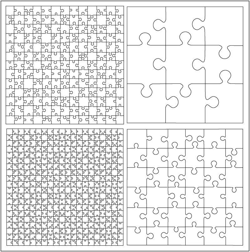 一组拼图模板向量