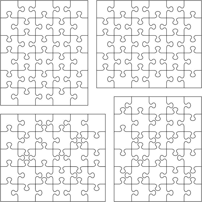 四个不同白色拼图的矢量图-分开的部分