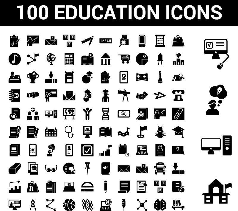 100个教育通用图标-与老学校台式电脑有想法在线测试购物车人脑分子键注射器计算机和网络原子轨道等配套