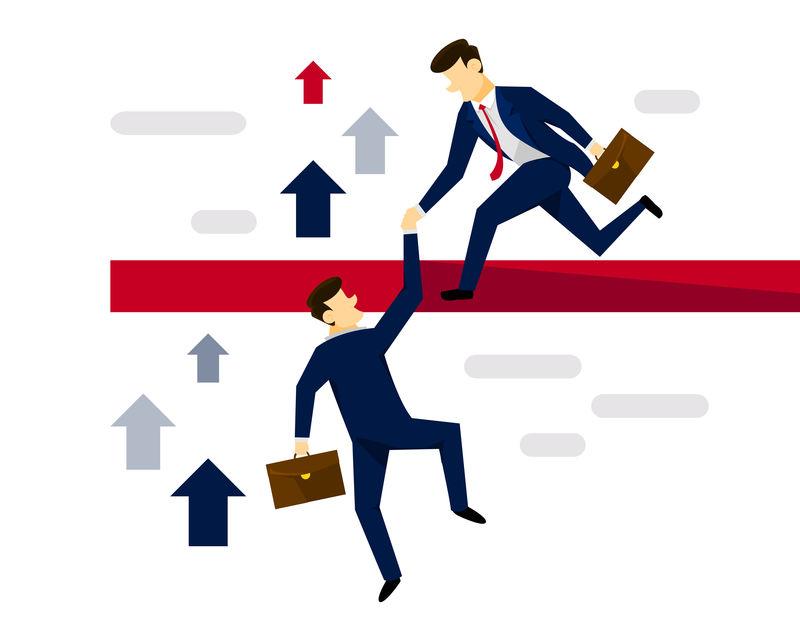现代创意商业战略图解概念-帮助团队合作到下一个层次