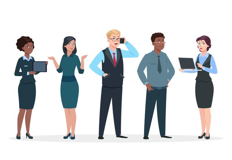 商务人士办公室团队卡通人物一群商人男人女人常客团队合作伙伴矢量概念