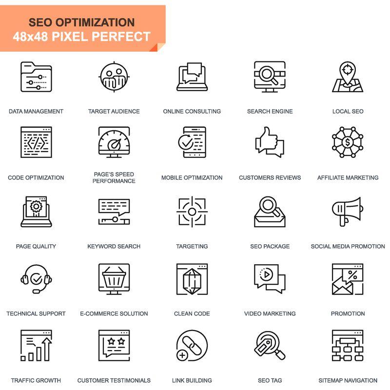 简单设置网站和移动应用程序的搜索引擎优化和网络优化线图标-包含目标营销流量增长等图标-48x48像素完美-可编辑的笔划-矢量图