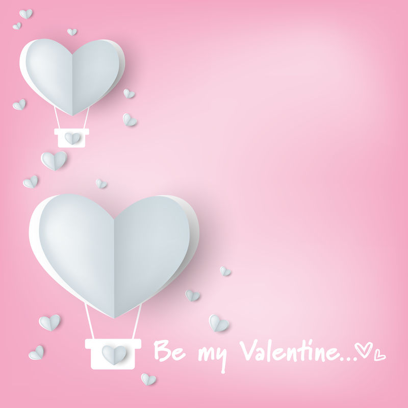 """情人节的背景是剪纸心形热气球-带有加热和内衬图案-以及""""成为我的情人节""""文本-爱情和情人节的概念-纸艺术风格"""