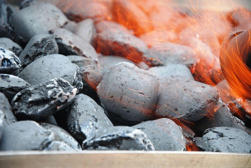 在壁炉或炉子里烧木炭