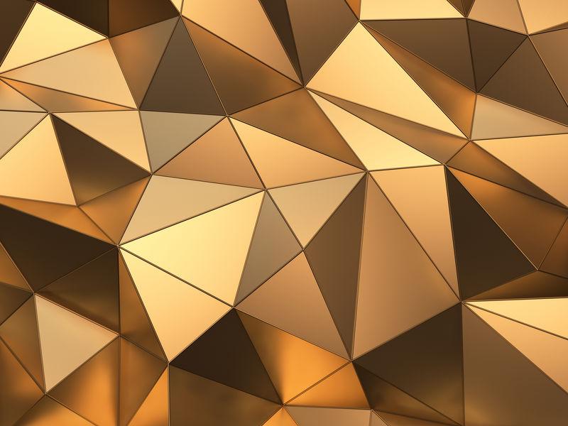 丰富的黄金抽象背景三维渲染