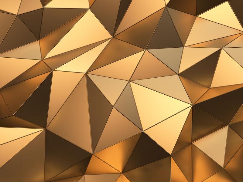 黄金抽象背景三维渲染
