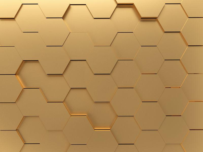 黄金抽象六边形三维渲染背景