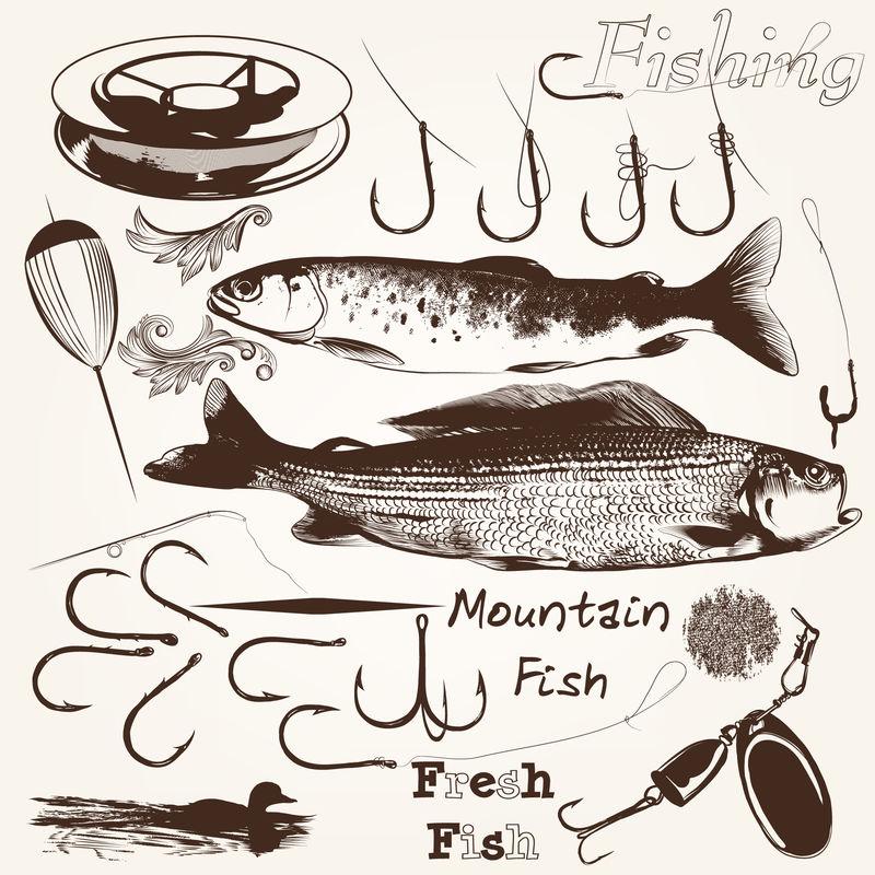 用于渔汛设计的矢量手绘鱼和鱼钩组