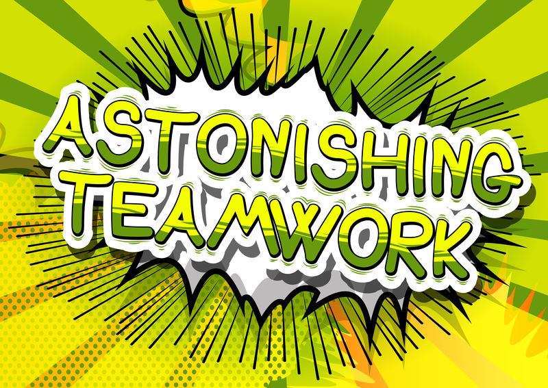 惊人的团队合作——抽象背景下的漫画风格短语