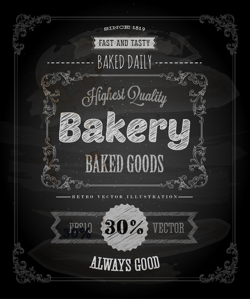 面包店标签海报-粉笔印刷设计-矢量