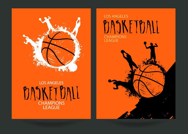 篮球设计-为比赛设置海报-抽象背景-街球-手绘字体-EPS文件是分层的