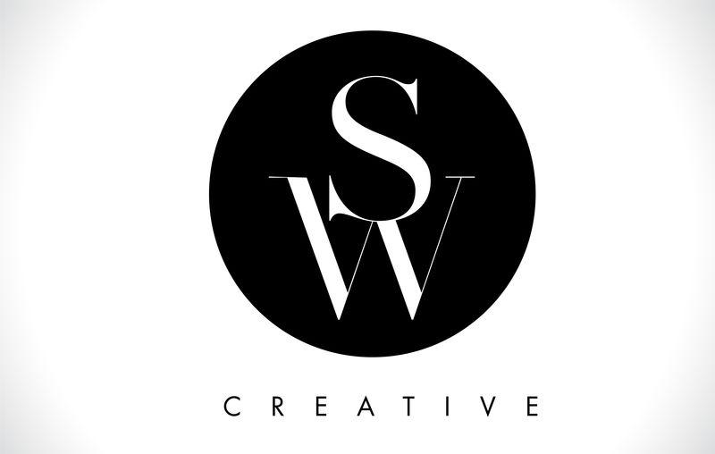 sw字母设计标志,黑白色矢量。