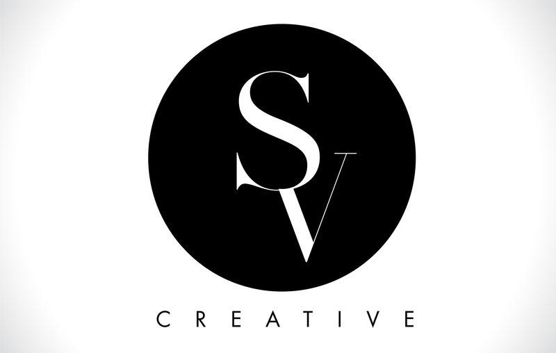 SV字母设计标志,带黑白色矢量。