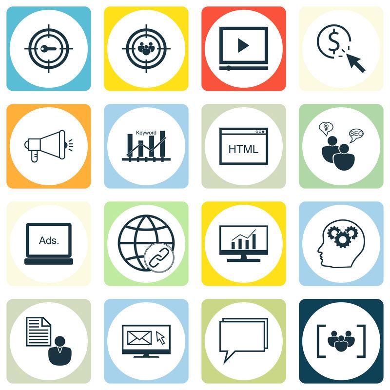 一套搜索引擎优化,营销和广告图标链接建设,综合分析,显示广告等。优质的EPS10矢量演示,适用于手机、应用程序、用户界面设计。