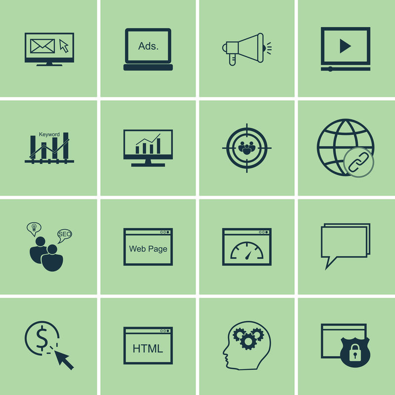 一套搜索引擎优化,营销和广告图标视频广告,受众定位,病毒营销等。优质的EPS10矢量演示,适用于手机、应用程序、用户界面设计。
