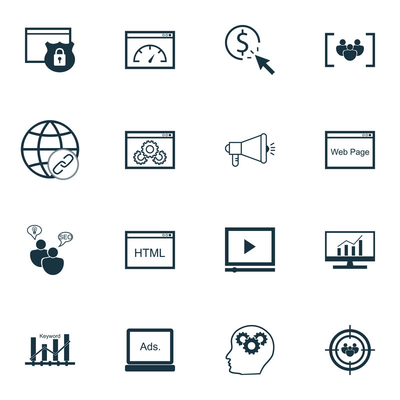 一套搜索引擎优化,营销和广告图标网站保护,病毒营销,受众定位等。优质的EPS10矢量演示,适用于手机、应用程序、用户界面设计。