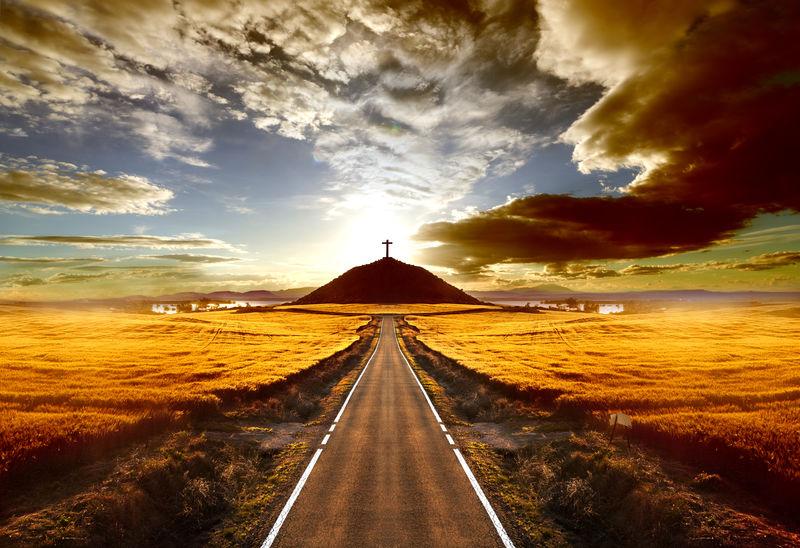 日落与旅行概念
