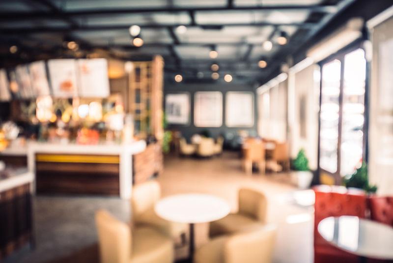 抽象模糊咖啡店背景-复古过滤效果