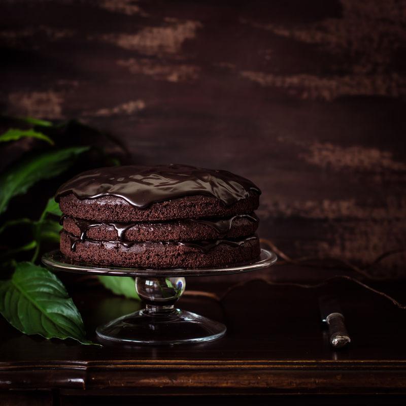 美味素食巧克力蛋糕-选择性聚焦