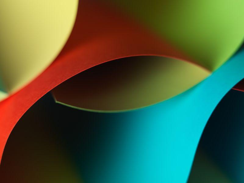 曲线纸彩色折纸图案的宏观图形