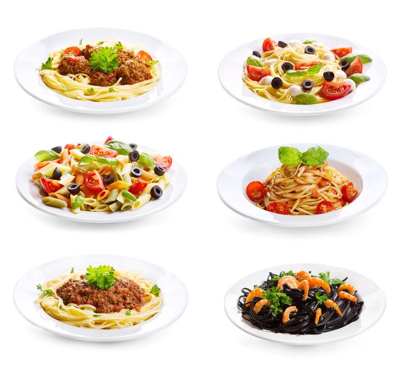 用不同盘子的意大利面和白底意大利面搭配
