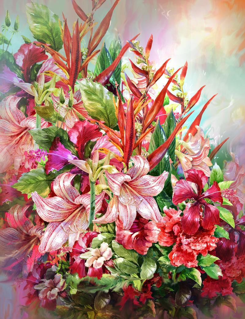 五彩花束水彩绘画风格.数码绘画