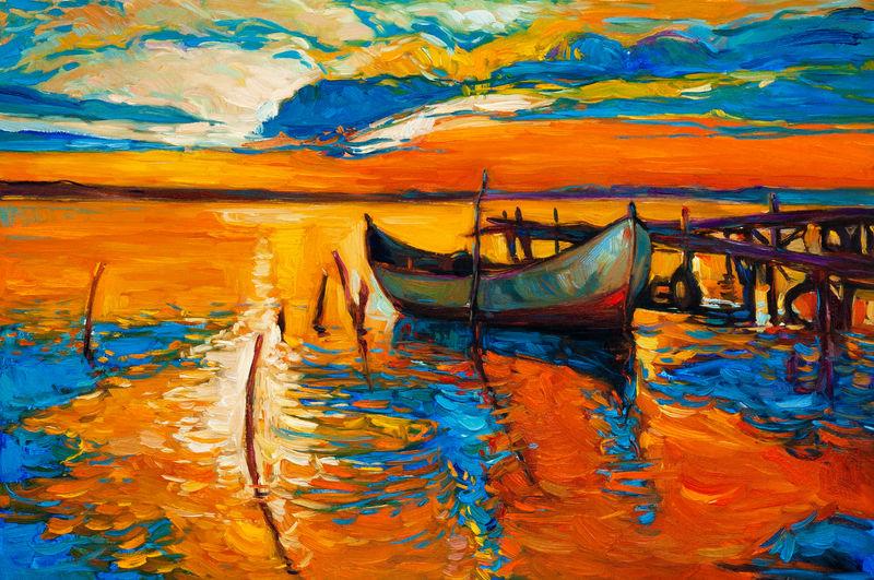 帆船-游艇-船-黄红乌云-落日过海-印象派海景原版英帕斯托油画-现代风格-用调色刀在拉伸的画布上制作-表现主义