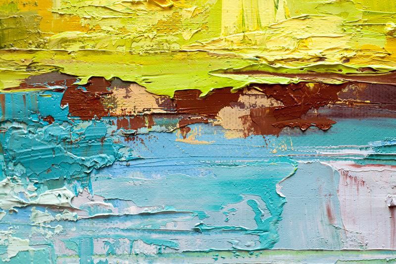 抽象艺术背景-画布油画-绿色和黄色纹理-艺术品碎片-油漆斑点-刷油漆-现代艺术-当代艺术