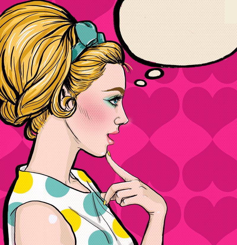 金发女郎形象与演讲泡沫的插画-思考性感女郎的复古广告海报