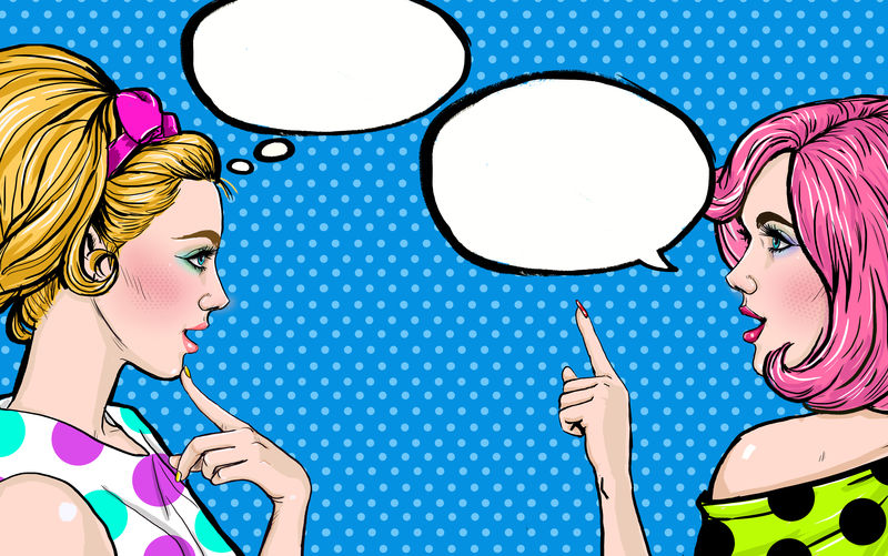 两个派对女孩在谈论你-波普艺术女性的闲言碎语带有泡沫-广告海报或迪斯科舞厅设计的女性对话